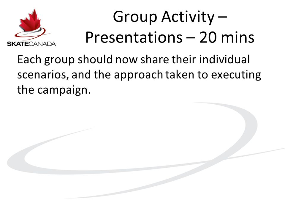 Group Activity – Presentations – 20 mins Each group should now share their individual scenarios, and the approach taken to executing the campaign.