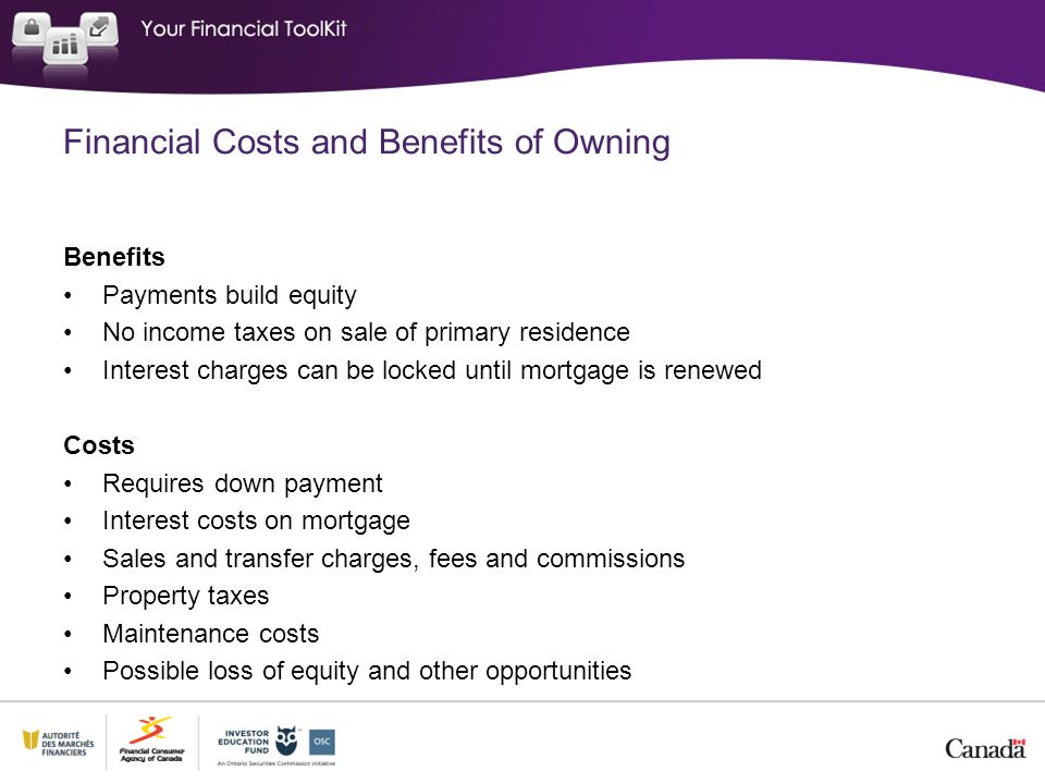 Financial Costs and Benefits of Owning Benefits Payments build equity No income taxes on sale of primary residence Interest charges can be locked until mortgage is renewed Costs Requires down payment Interest costs on mortgage Sales and transfer charges, fees and commissions Property taxes Maintenance costs Possible loss of equity and other opportunities