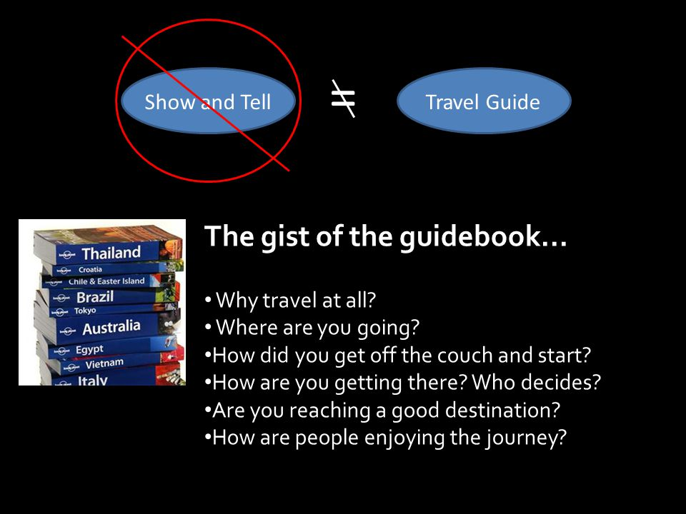 The gist of the guidebook... Why travel at all. Where are you going.