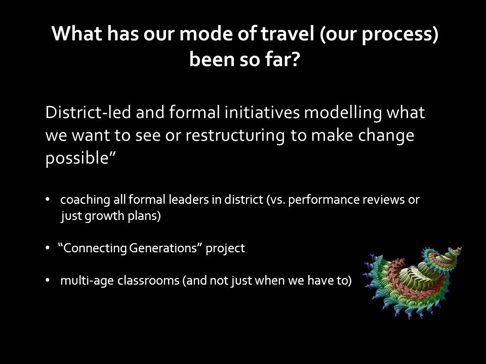 "District-led and formal initiatives modelling what we want to see or restructuring to make change possible"" coaching all formal leaders in district (v"