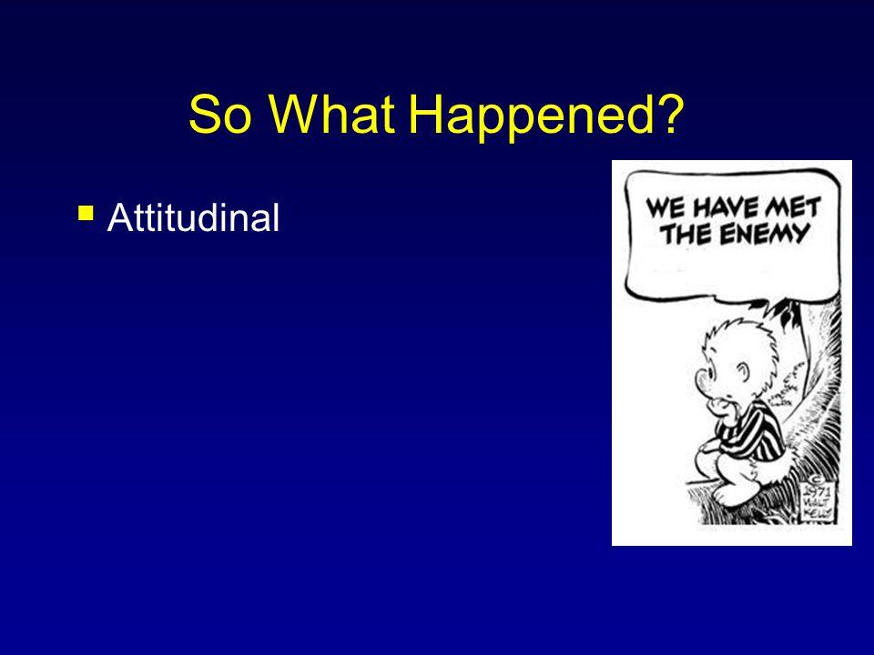 So What Happened?  Attitudinal