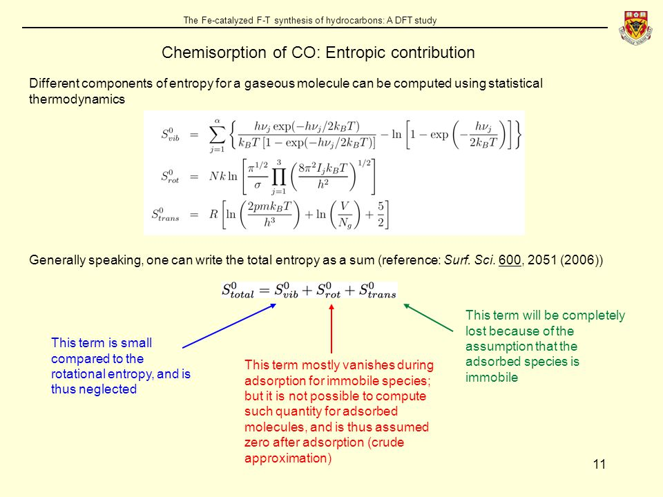 11 The Fe-catalyzed F-T synthesis of hydrocarbons: A DFT study Chemisorption of CO: Entropic contribution Different components of entropy for a gaseous molecule can be computed using statistical thermodynamics Generally speaking, one can write the total entropy as a sum (reference: Surf.