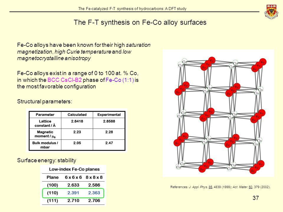 37 The Fe-catalyzed F-T synthesis of hydrocarbons: A DFT study The F-T synthesis on Fe-Co alloy surfaces Fe-Co alloys have been known for their high saturation magnetization, high Curie temperature and low magnetocrystalline anisotropy Fe-Co alloys exist in a range of 0 to 100 at.