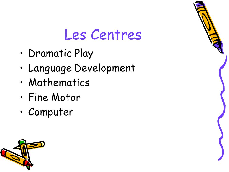 Les Centres Dramatic Play Language Development Mathematics Fine Motor Computer