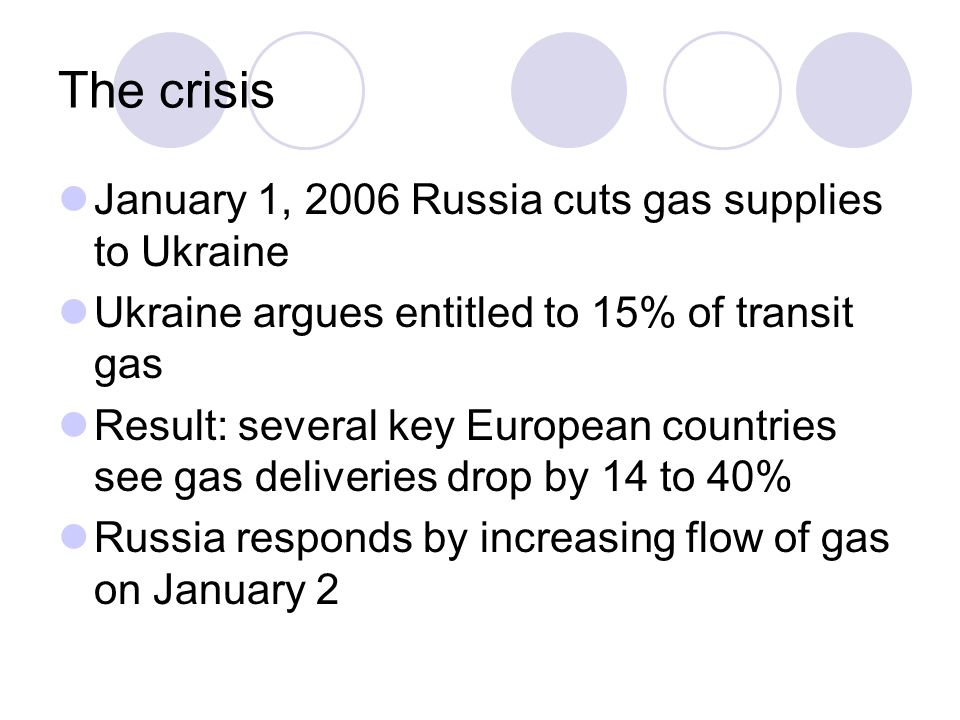 The crisis January 1, 2006 Russia cuts gas supplies to Ukraine Ukraine argues entitled to 15% of transit gas Result: several key European countries se
