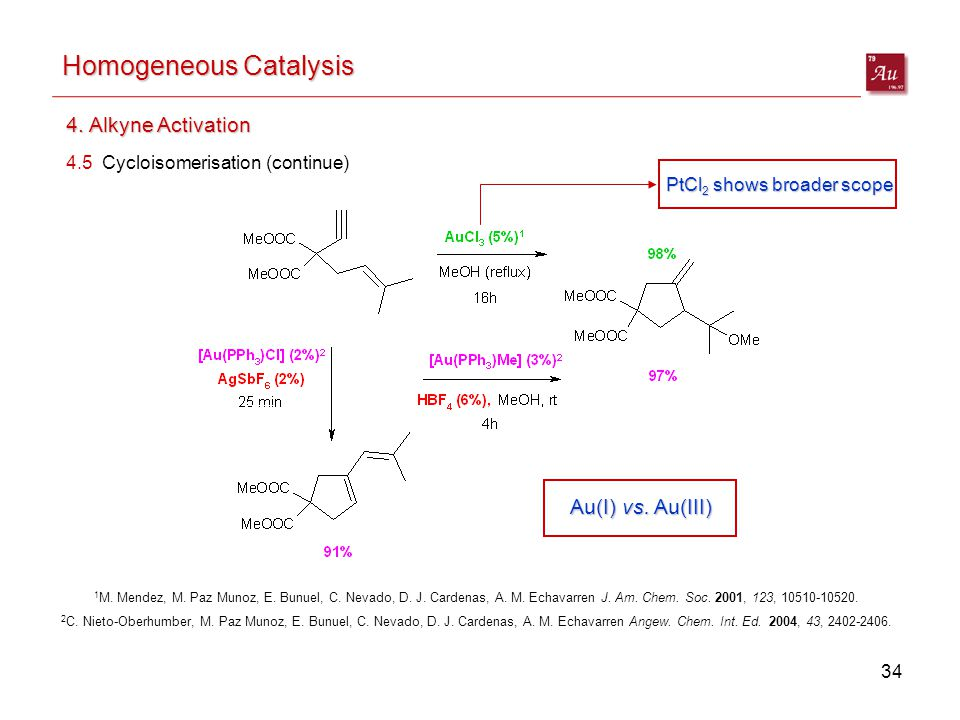 34 Homogeneous Catalysis 4. Alkyne Activation 4.5 Cycloisomerisation (continue) 2 C.