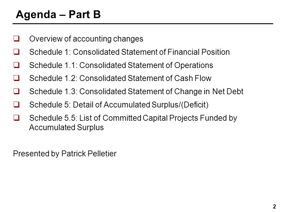 23 Schedule 1 – Consolidated Statement of Financial Position  Presentation changes  Net Debt (item 3): The name of the difference between liabilities (item 2.7) and financial assets (item 1.7) has changed to Net Debt  Tangible Capital Assets (item 4.3): Schedule now includes a line for Tangible Capital Assets under Non-Financial Assets due to the implementation of TCA as of September 1, 2009 (PS-3150)  Accumulated Surplus (Deficit) (item 5): The name of the sum of Net Debt (item 3) and Non-Financial Assets (item 4.4) has been changed to Accumulated Surplus (Deficit)  Fund balances and Amounts to be recovered have been removed