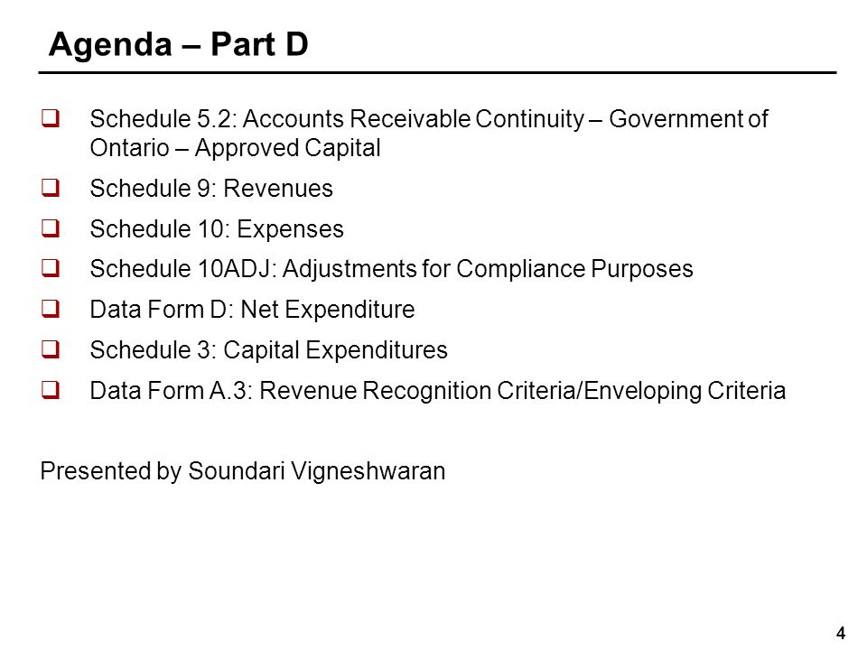 5 Agenda - Part E  Schedule 3C: Tangible Capital Asset Continuity  Schedule 10F: Employee Benefits  Schedule 10G: Supplementary Information on Retirement Benefits, Post-employment Benefits, Compensated Absences and Termination Benefits Presented by Andrew Yang