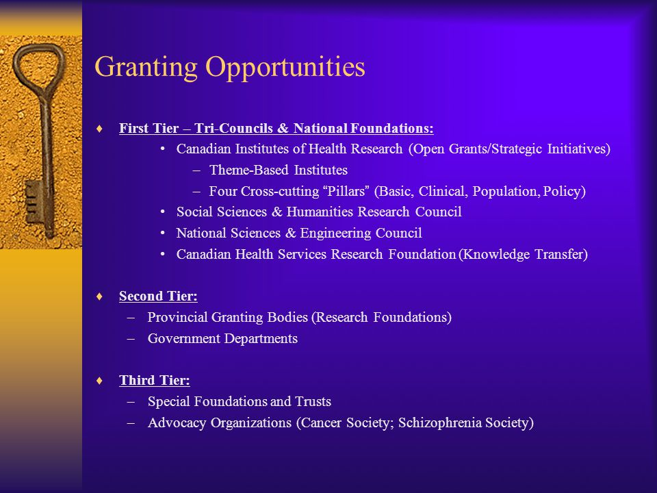 Granting Opportunities  First Tier – Tri-Councils & National Foundations: Canadian Institutes of Health Research (Open Grants/Strategic Initiatives) –Theme-Based Institutes –Four Cross-cutting Pillars (Basic, Clinical, Population, Policy) Social Sciences & Humanities Research Council National Sciences & Engineering Council Canadian Health Services Research Foundation (Knowledge Transfer)  Second Tier: –Provincial Granting Bodies (Research Foundations) –Government Departments  Third Tier: –Special Foundations and Trusts –Advocacy Organizations (Cancer Society; Schizophrenia Society)