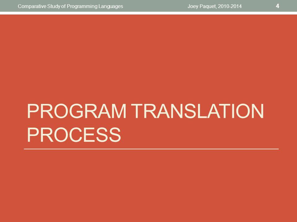 PROGRAM TRANSLATION PROCESS Joey Paquet, 2010-2014 4 Comparative Study of Programming Languages