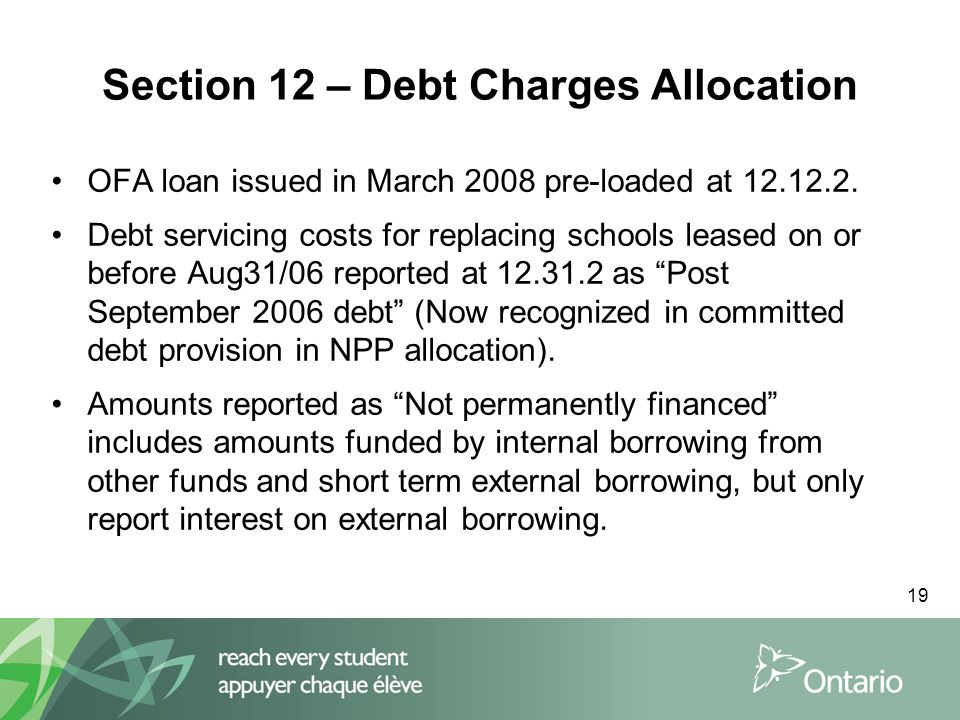19 Section 12 – Debt Charges Allocation OFA loan issued in March 2008 pre-loaded at 12.12.2.