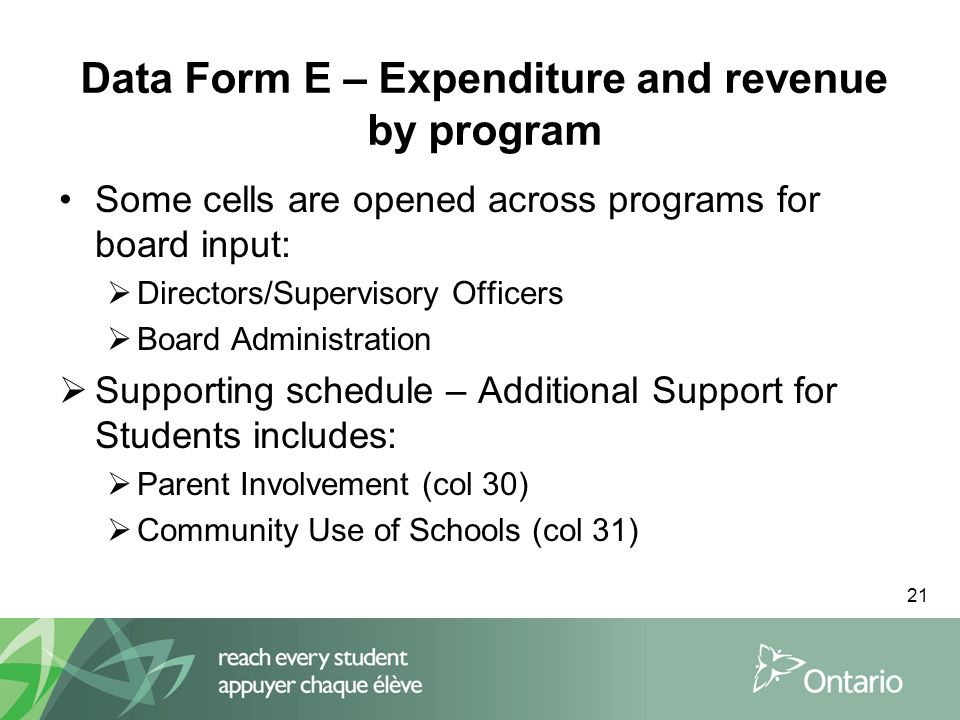 21 Data Form E – Expenditure and revenue by program Some cells are opened across programs for board input:  Directors/Supervisory Officers  Board Administration  Supporting schedule – Additional Support for Students includes:  Parent Involvement (col 30)  Community Use of Schools (col 31)