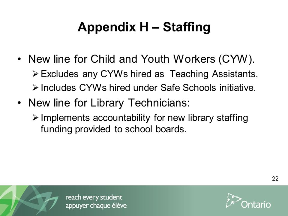 22 Appendix H – Staffing New line for Child and Youth Workers (CYW).