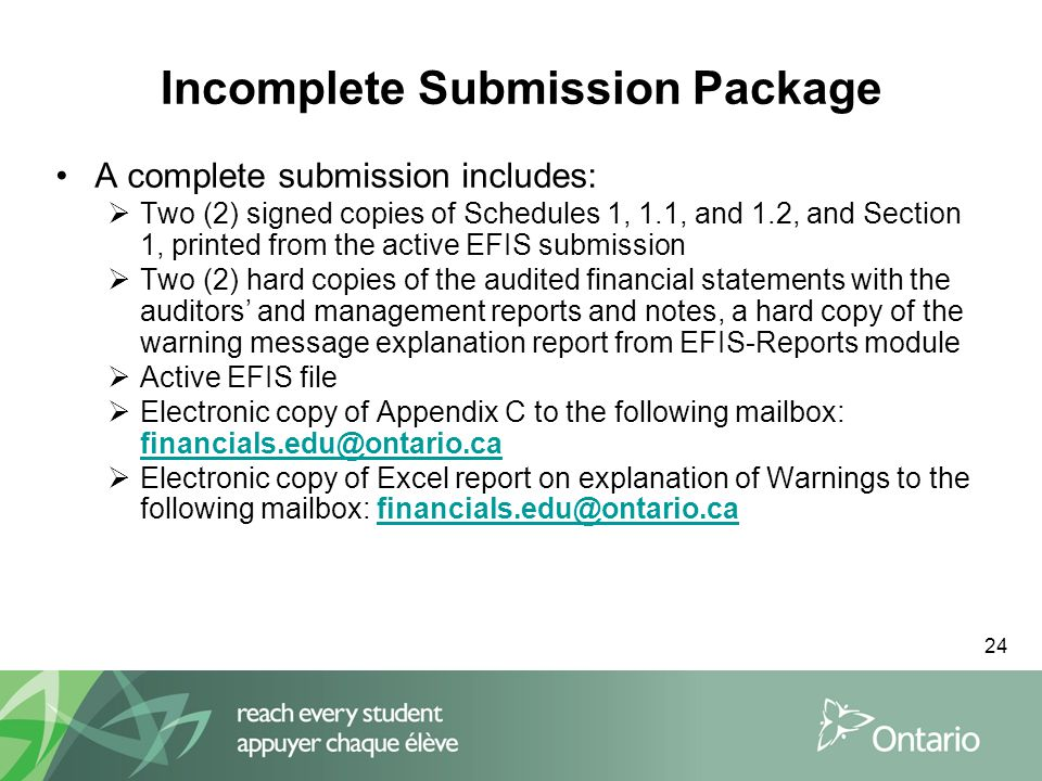 24 Incomplete Submission Package A complete submission includes:  Two (2) signed copies of Schedules 1, 1.1, and 1.2, and Section 1, printed from the