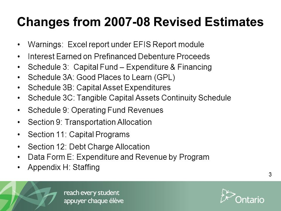 3 Changes from 2007-08 Revised Estimates Warnings: Excel report under EFIS Report module Interest Earned on Prefinanced Debenture Proceeds Schedule 3: Capital Fund – Expenditure & Financing Schedule 3A: Good Places to Learn (GPL) Schedule 3B: Capital Asset Expenditures Schedule 3C: Tangible Capital Assets Continuity Schedule Schedule 9: Operating Fund Revenues Section 9: Transportation Allocation Section 11: Capital Programs Section 12: Debt Charge Allocation Data Form E: Expenditure and Revenue by Program Appendix H: Staffing