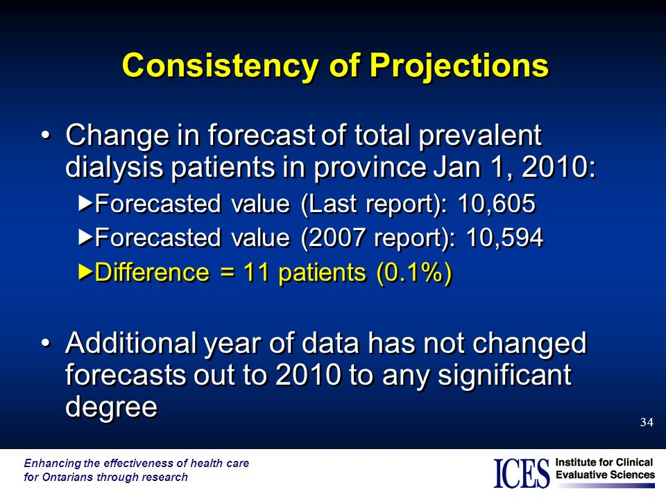 Enhancing the effectiveness of health care for Ontarians through research 34 Consistency of Projections Change in forecast of total prevalent dialysis patients in province Jan 1, 2010:  Forecasted value (Last report): 10,605  Forecasted value (2007 report): 10,594  Difference = 11 patients (0.1%) Additional year of data has not changed forecasts out to 2010 to any significant degree Change in forecast of total prevalent dialysis patients in province Jan 1, 2010:  Forecasted value (Last report): 10,605  Forecasted value (2007 report): 10,594  Difference = 11 patients (0.1%) Additional year of data has not changed forecasts out to 2010 to any significant degree