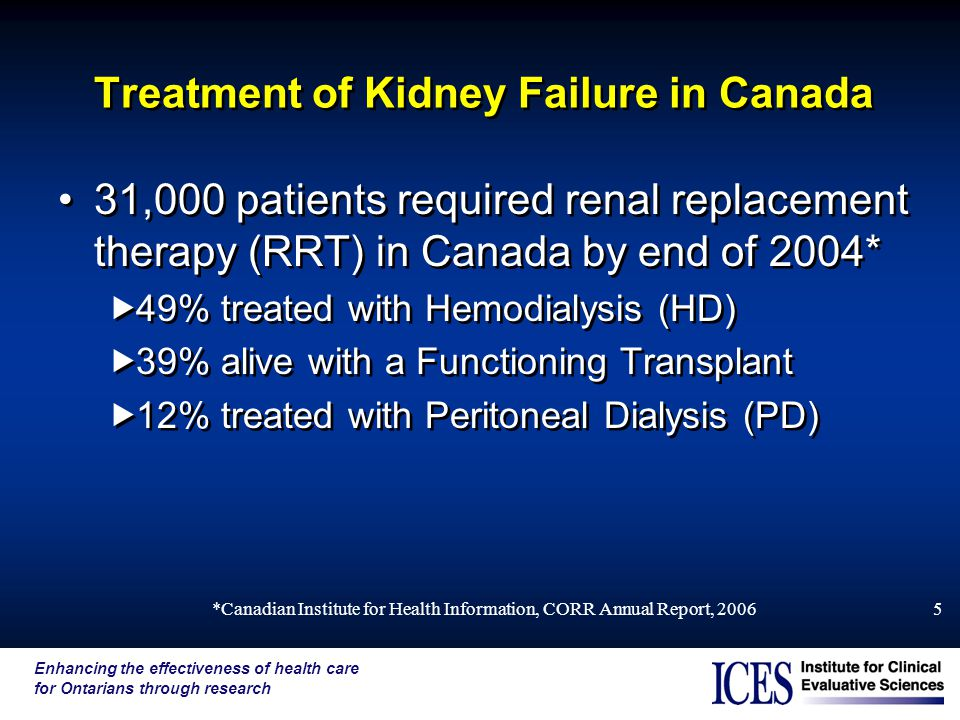 Enhancing the effectiveness of health care for Ontarians through research *Canadian Institute for Health Information, CORR Annual Report, Treatment of Kidney Failure in Canada 31,000 patients required renal replacement therapy (RRT) in Canada by end of 2004*  49% treated with Hemodialysis (HD)  39% alive with a Functioning Transplant  12% treated with Peritoneal Dialysis (PD) 31,000 patients required renal replacement therapy (RRT) in Canada by end of 2004*  49% treated with Hemodialysis (HD)  39% alive with a Functioning Transplant  12% treated with Peritoneal Dialysis (PD)