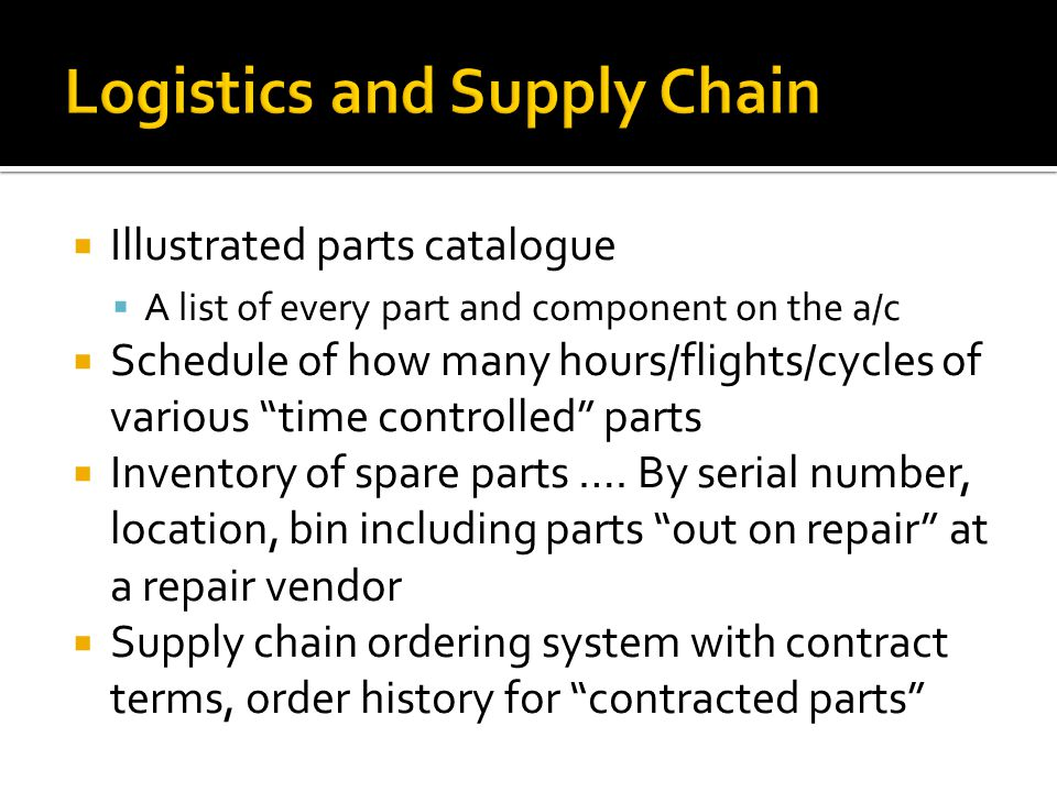  Illustrated parts catalogue  A list of every part and component on the a/c  Schedule of how many hours/flights/cycles of various time controlled parts  Inventory of spare parts ….