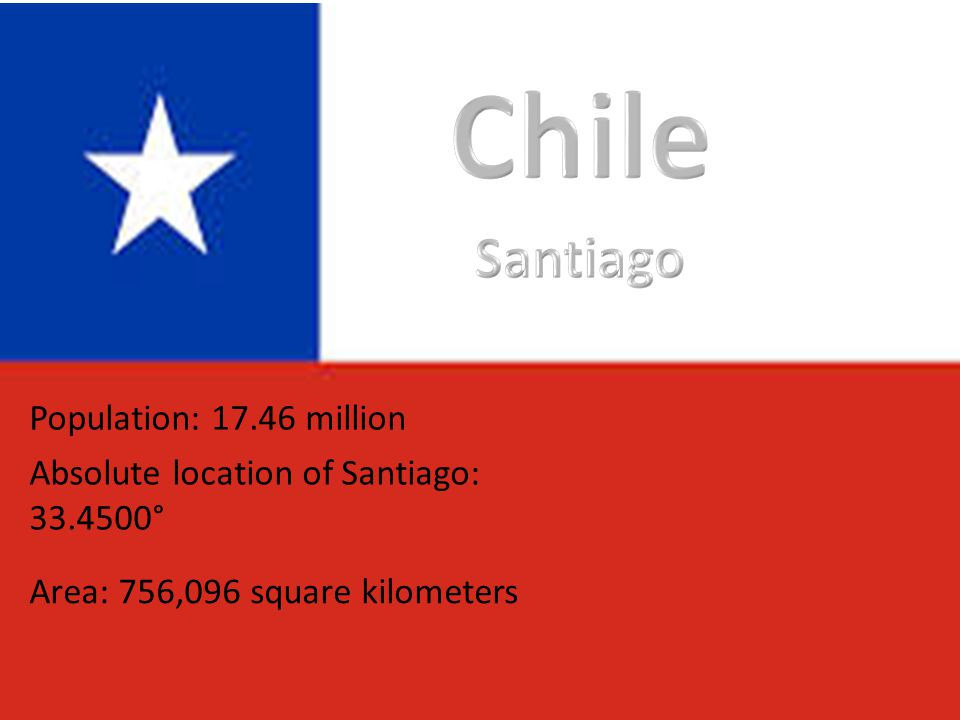 Population: 17.46 million Absolute location of Santiago: 33.4500° Area: 756,096 square kilometers