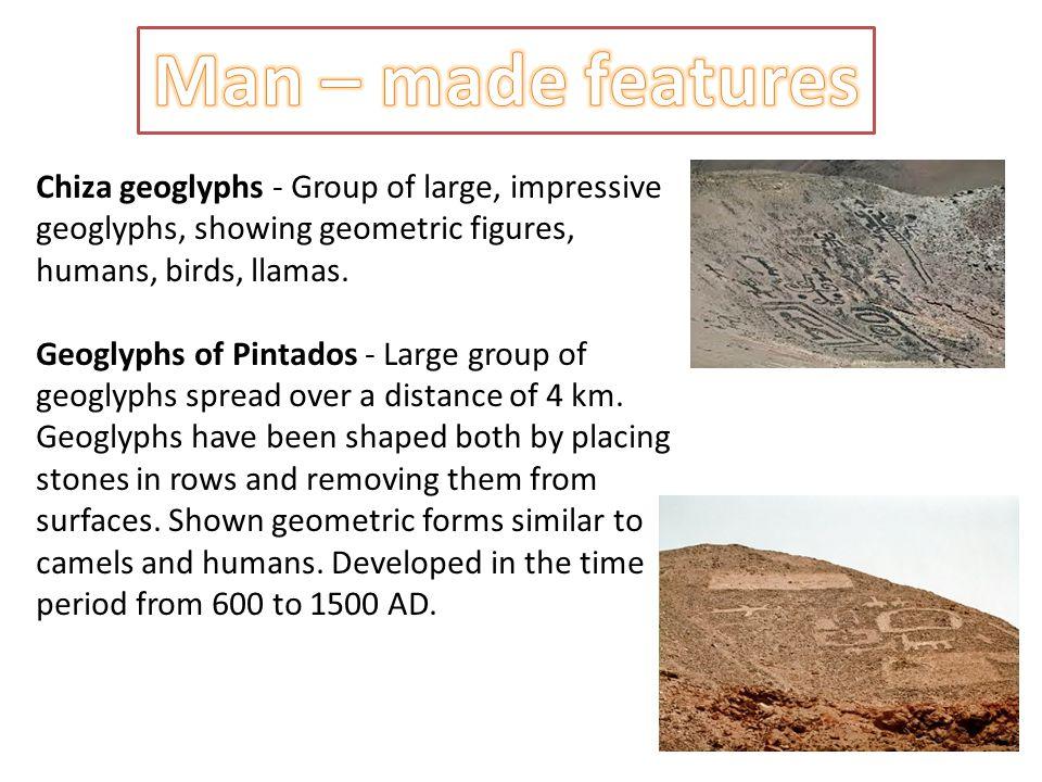 Chiza geoglyphs - Group of large, impressive geoglyphs, showing geometric figures, humans, birds, llamas.