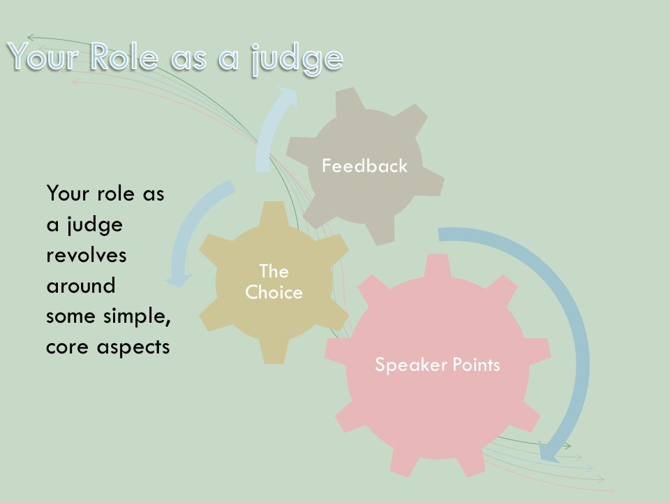 Your role as a judge revolves around some simple, core aspects Speaker Points The Choice Feedback