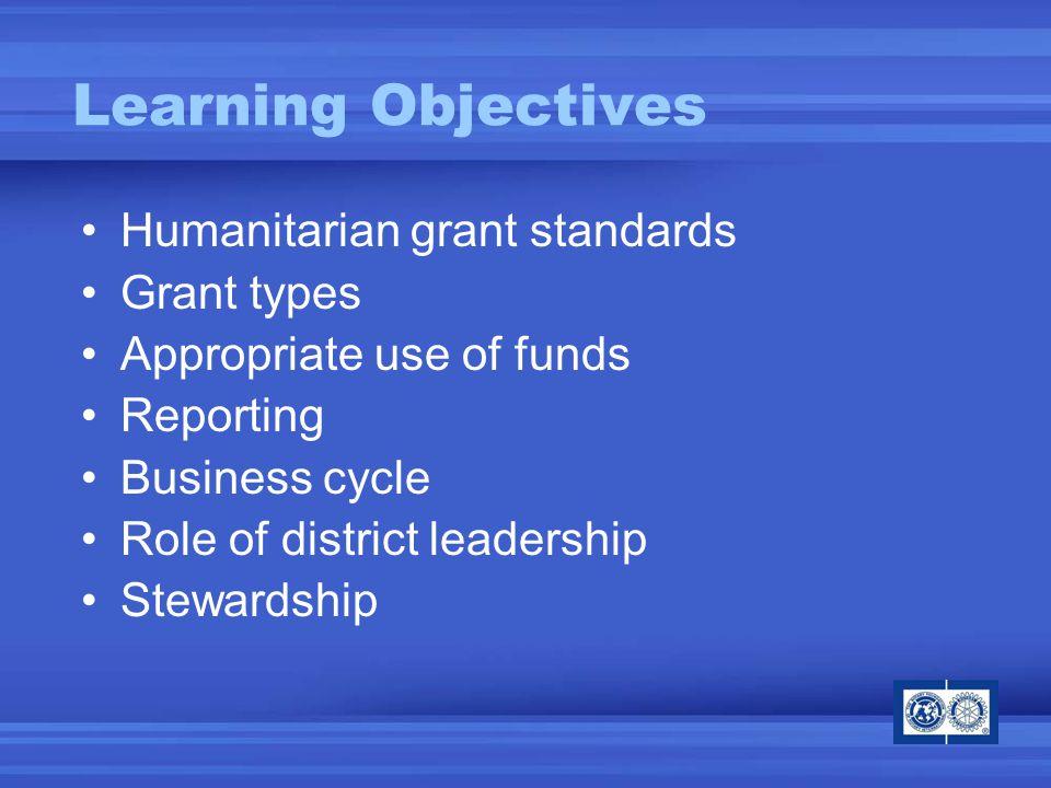 Rotarian participation Rotary networks Humanitarian needs Stewardship Humanitarian Grant Standards