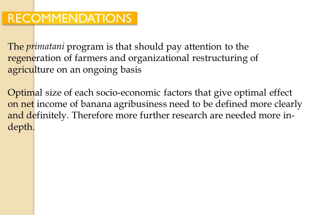Institutional development of agriculture should encourage the creation of microfinance institutions that can provide financial assistance to farmers i