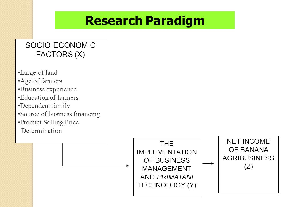 RESEARCH METHODS Survey method Variables : - Socio-economic factors of banana farmers (X) - Implementation of business management and primatani techno