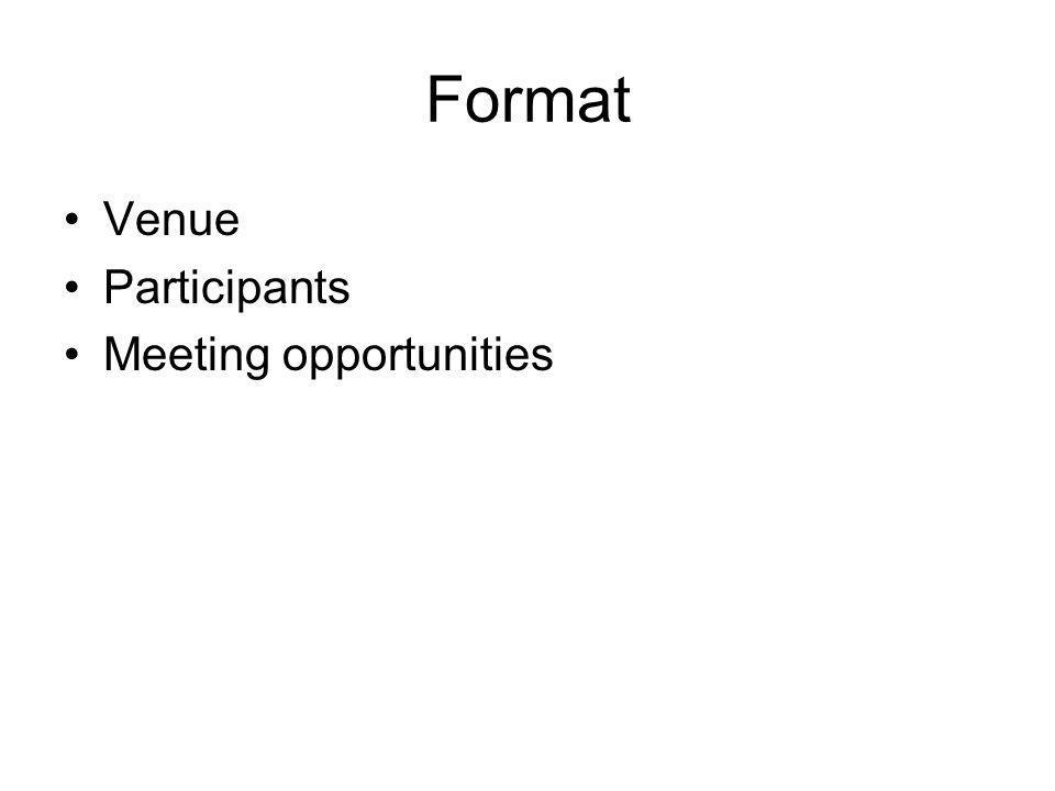 Format Venue Participants Meeting opportunities