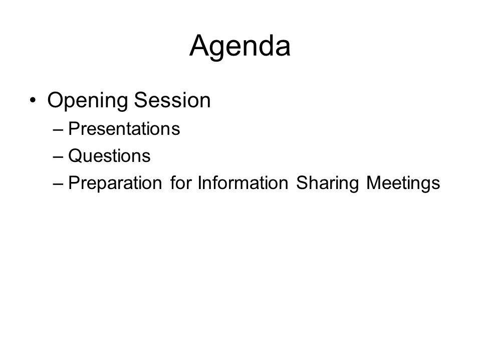 Agenda Opening Session –Presentations –Questions –Preparation for Information Sharing Meetings