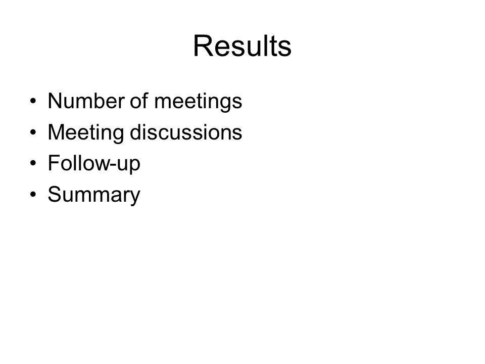 Results Number of meetings Meeting discussions Follow-up Summary