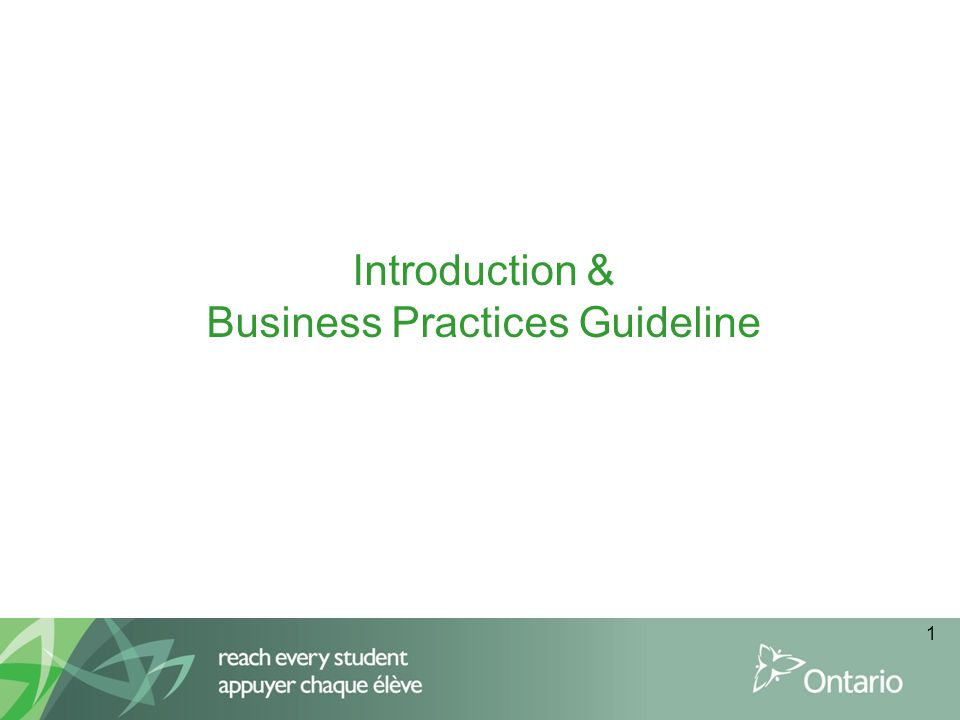 Introduction & Business Practices Guideline 1