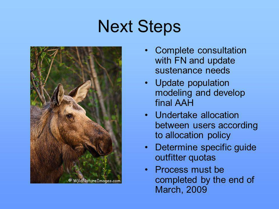 Next Steps Complete consultation with FN and update sustenance needs Update population modeling and develop final AAH Undertake allocation between users according to allocation policy Determine specific guide outfitter quotas Process must be completed by the end of March, 2009