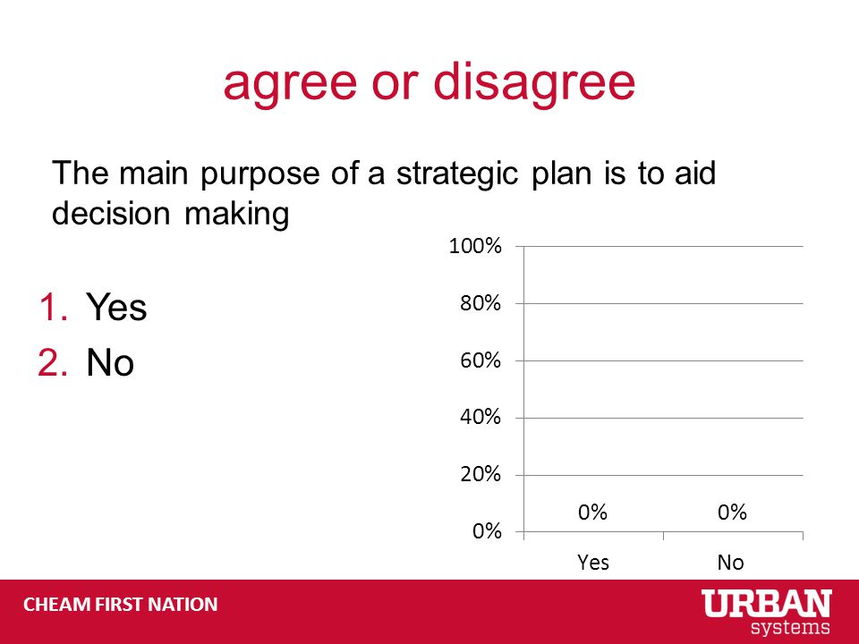 CHEAM FIRST NATION agree or disagree The main purpose of a strategic plan is to aid decision making 1.Yes 2.No
