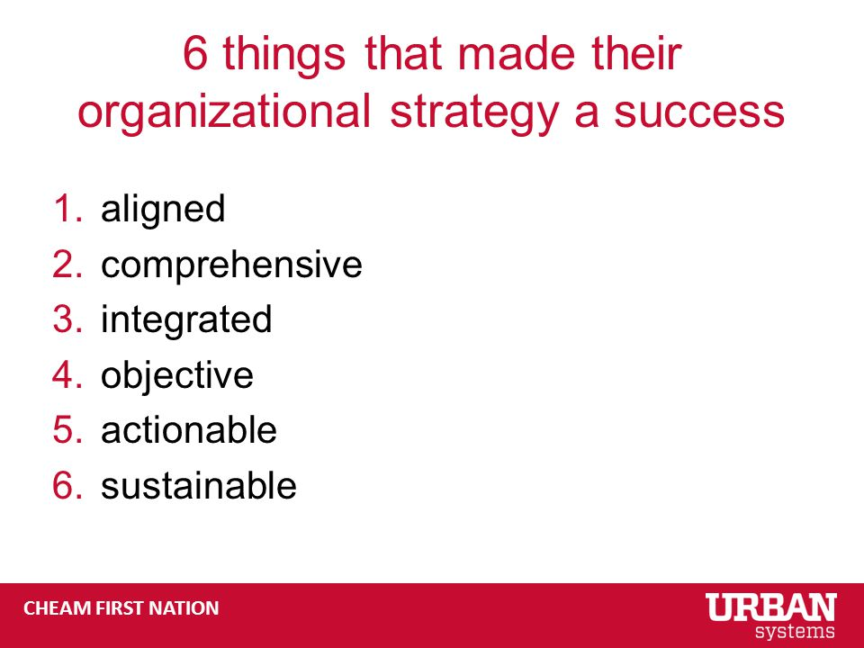 CHEAM FIRST NATION 6 things that made their organizational strategy a success 1.aligned 2.comprehensive 3.integrated 4.objective 5.actionable 6.sustainable