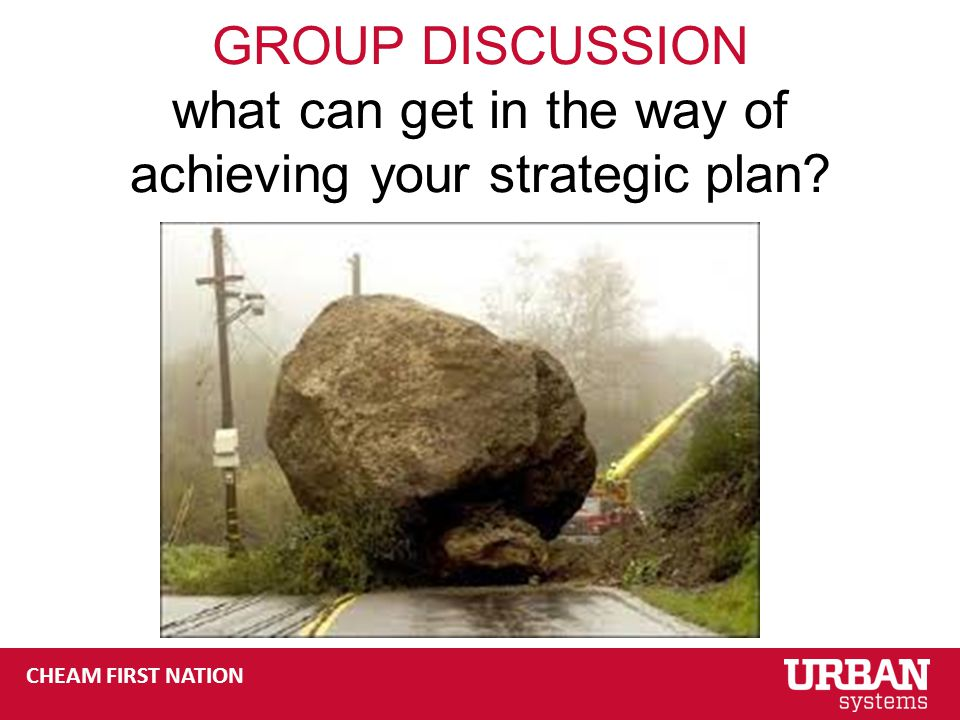 CHEAM FIRST NATION GROUP DISCUSSION what can get in the way of achieving your strategic plan