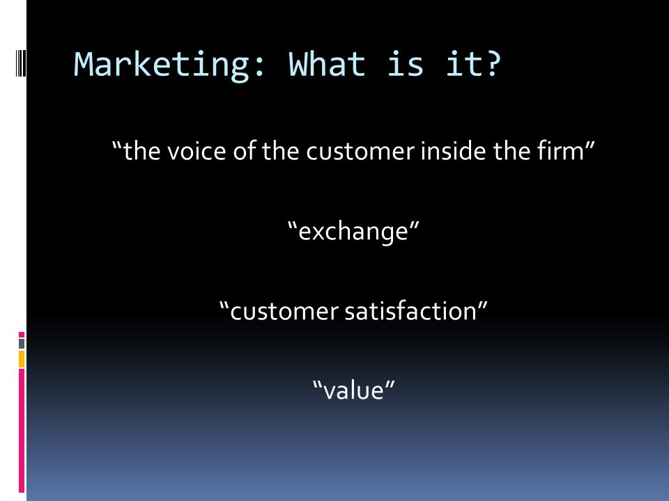 Marketing: What is it.