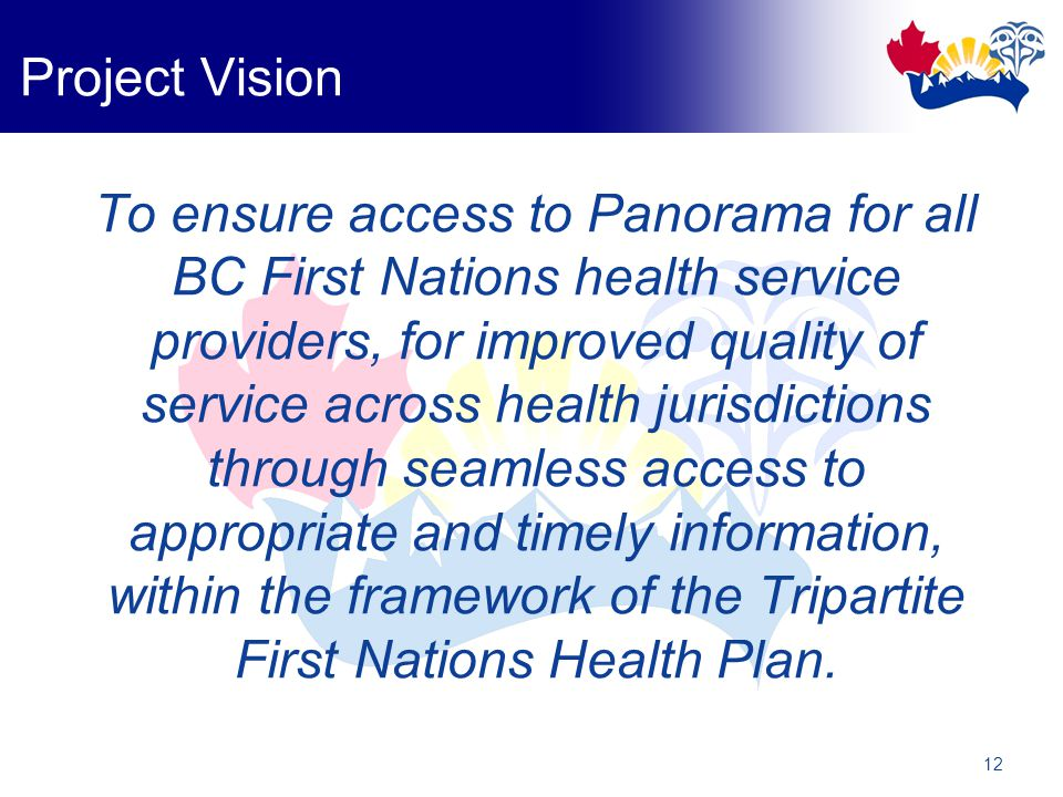 12 Project Vision To ensure access to Panorama for all BC First Nations health service providers, for improved quality of service across health jurisdictions through seamless access to appropriate and timely information, within the framework of the Tripartite First Nations Health Plan.
