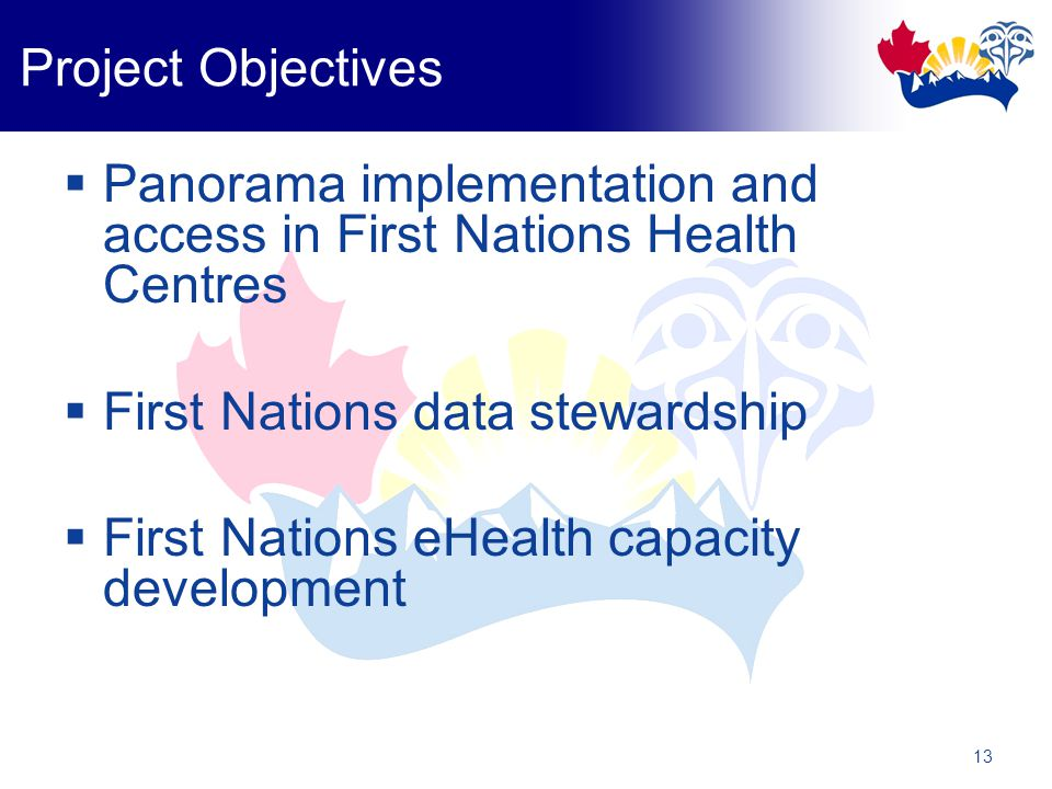 13 Project Objectives  Panorama implementation and access in First Nations Health Centres  First Nations data stewardship  First Nations eHealth capacity development