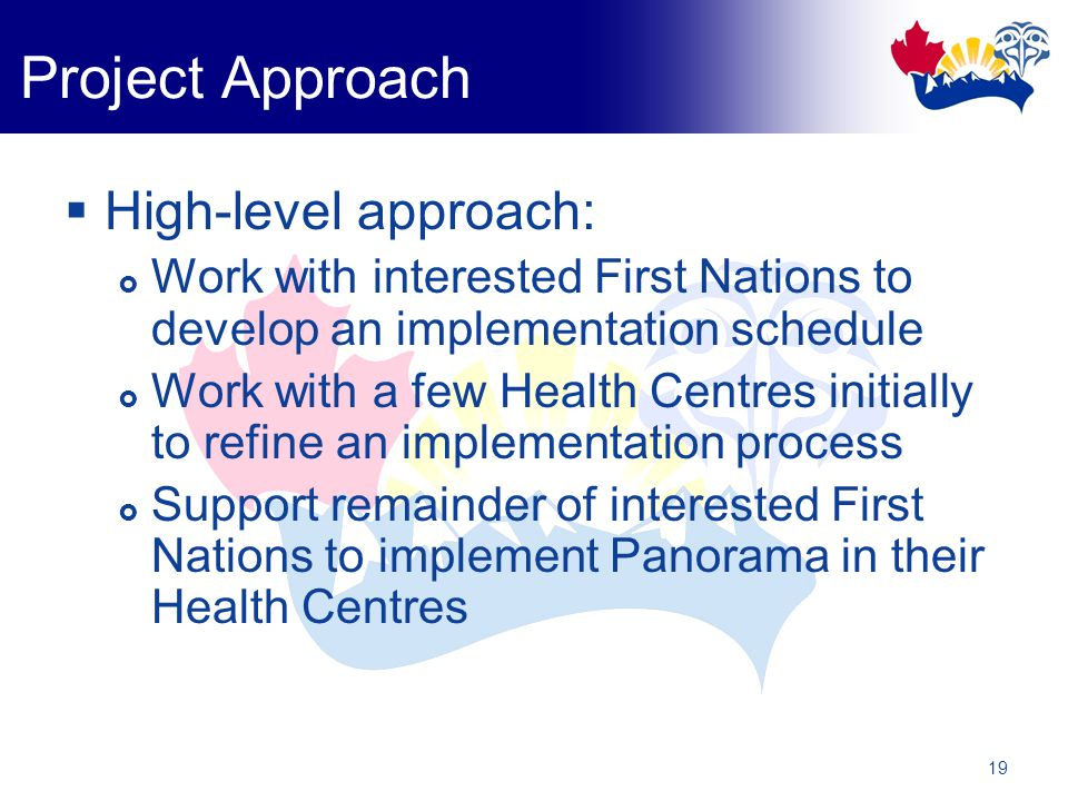 19  High-level approach:  Work with interested First Nations to develop an implementation schedule  Work with a few Health Centres initially to refine an implementation process  Support remainder of interested First Nations to implement Panorama in their Health Centres Project Approach