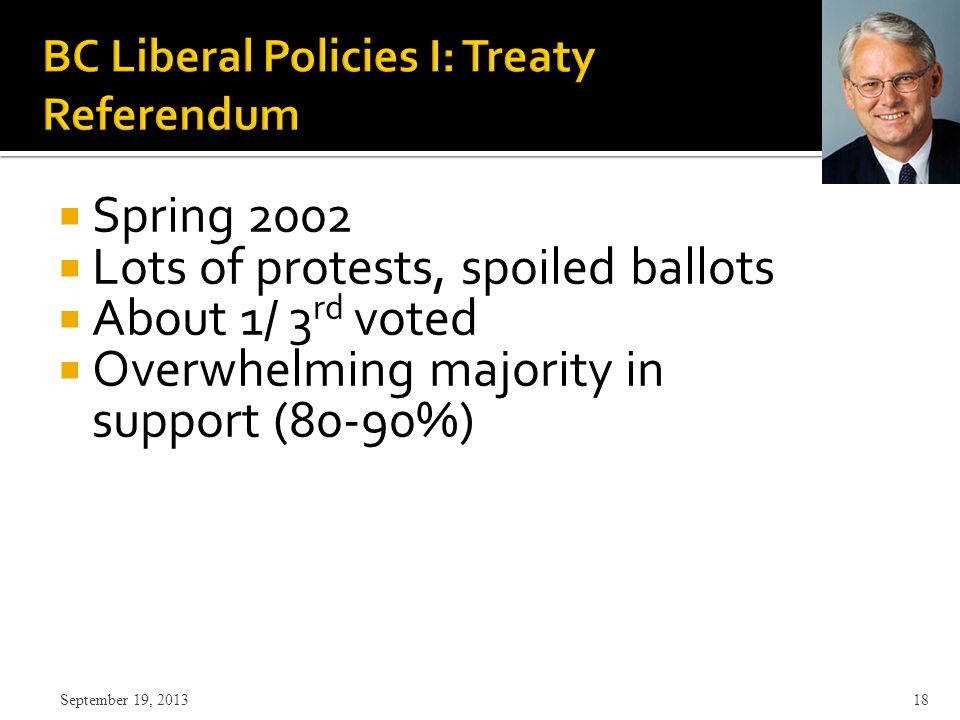  Spring 2002  Lots of protests, spoiled ballots  About 1/ 3 rd voted  Overwhelming majority in support (80-90%) September 19, 2013 18