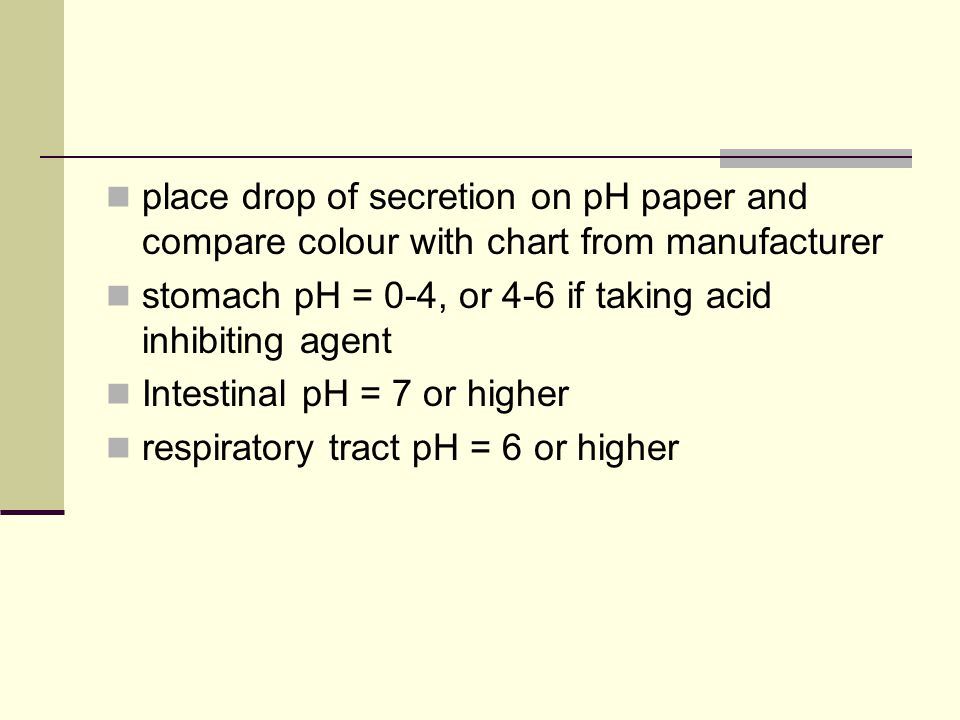 place drop of secretion on pH paper and compare colour with chart from manufacturer stomach pH = 0-4, or 4-6 if taking acid inhibiting agent Intestina