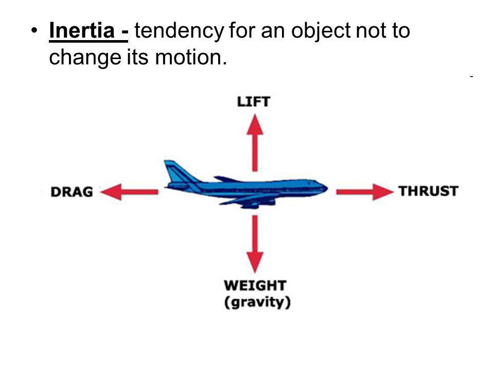 Inertia - tendency for an object not to change its motion.