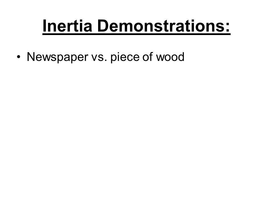 Inertia Demonstrations: Newspaper vs. piece of wood