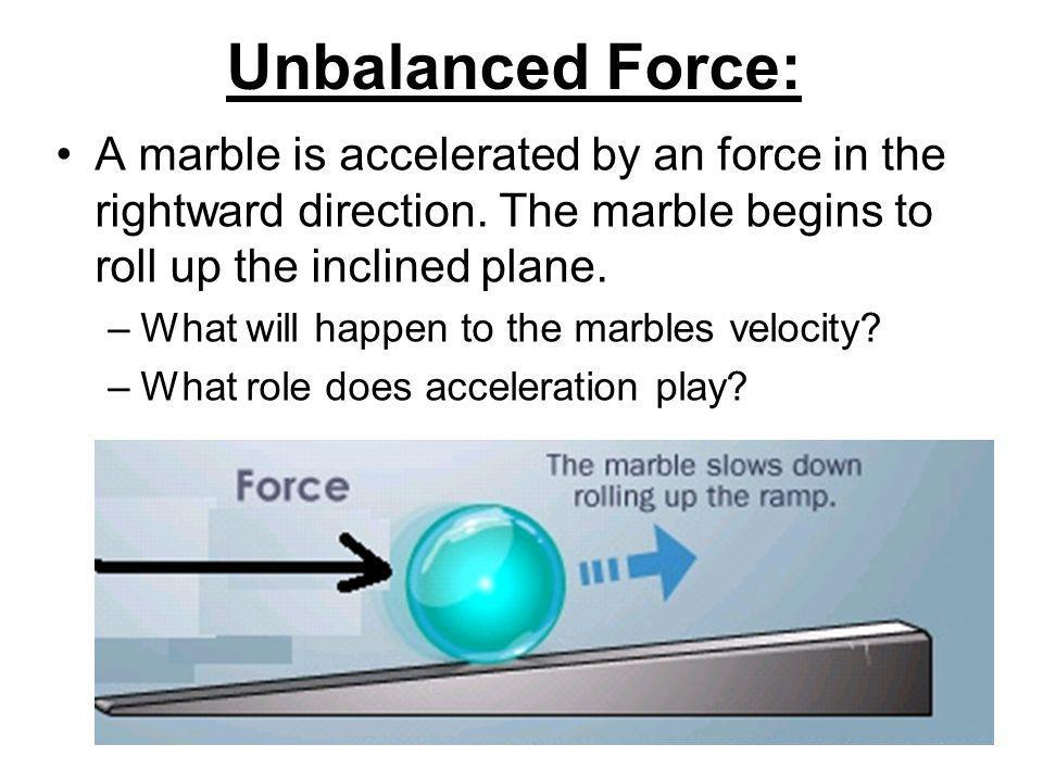 Unbalanced Force: A marble is accelerated by an force in the rightward direction.