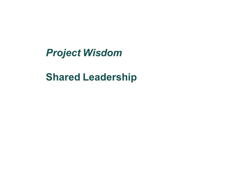 Project Wisdom Shared Leadership