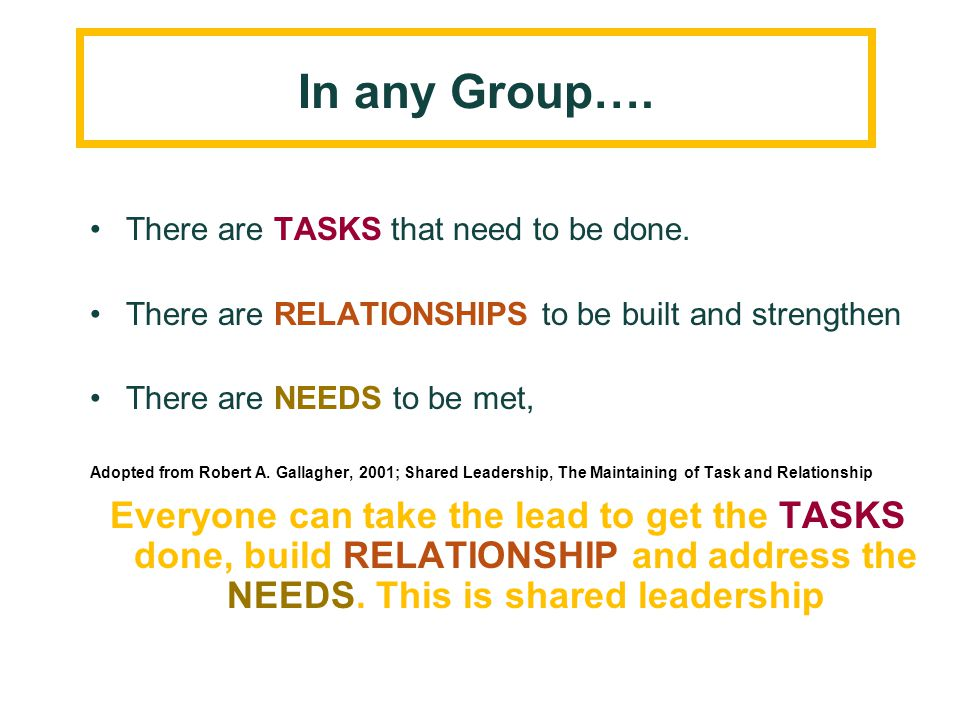 In any Group…. There are TASKS that need to be done. There are RELATIONSHIPS to be built and strengthen There are NEEDS to be met, Adopted from Robert