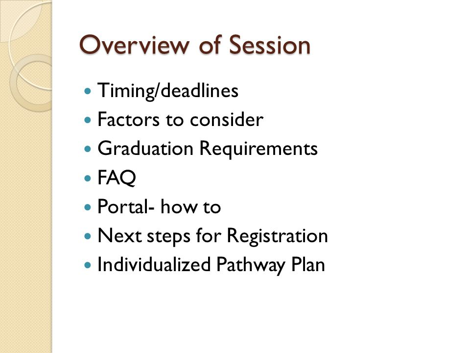 Overview of Session Timing/deadlines Factors to consider Graduation Requirements FAQ Portal- how to Next steps for Registration Individualized Pathway Plan