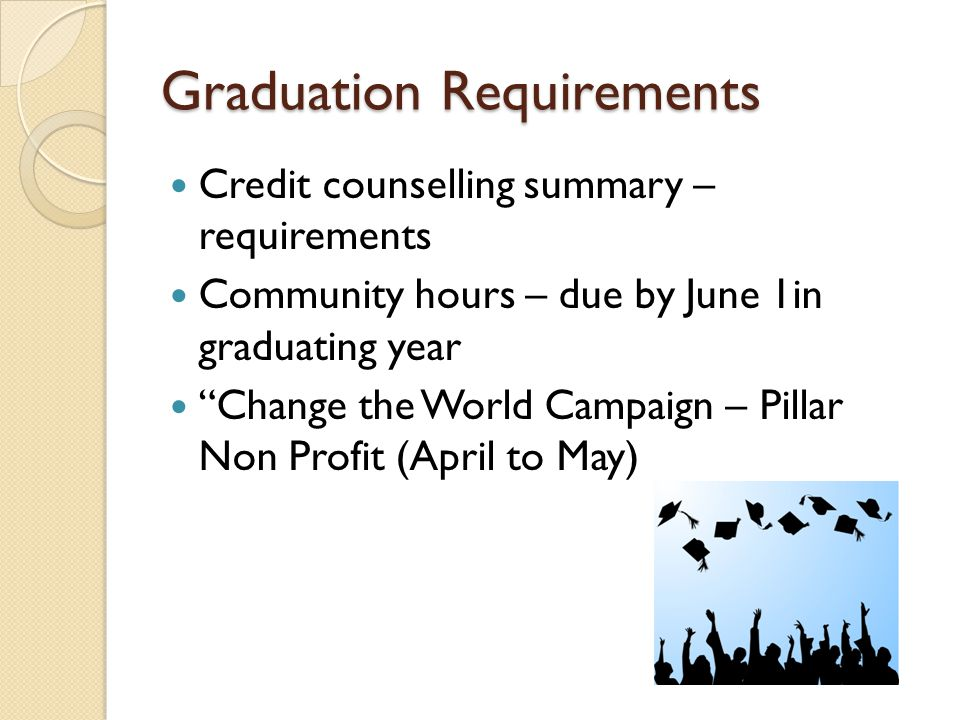 Graduation Requirements Credit counselling summary – requirements Community hours – due by June 1in graduating year Change the World Campaign – Pillar Non Profit (April to May)
