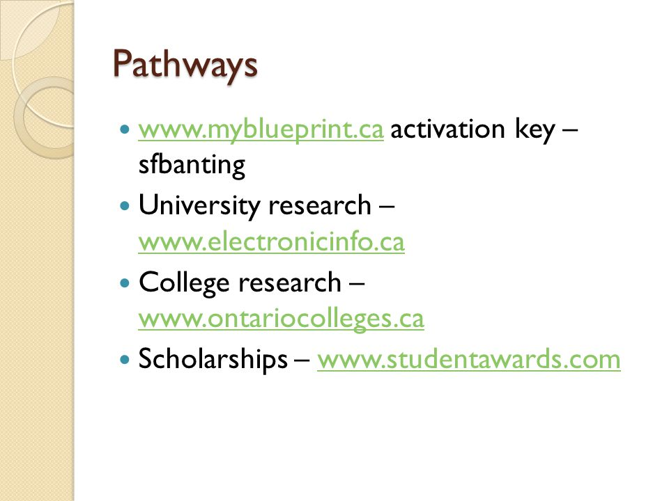 Pathways www.myblueprint.ca activation key – sfbanting www.myblueprint.ca University research – www.electronicinfo.ca www.electronicinfo.ca College research – www.ontariocolleges.ca www.ontariocolleges.ca Scholarships – www.studentawards.comwww.studentawards.com